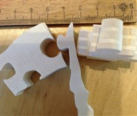 Kuh-Puzzle Pappel gebeizt:   handgefertigtes Holz - Puzzle aus 19 Teilen   mit Wachs-Beize behandelt